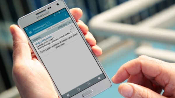 """Machine operators are notified by e-mail via the """"ConditionAnalyzer"""" digital service and can easily access these notifications from their mobile devices."""